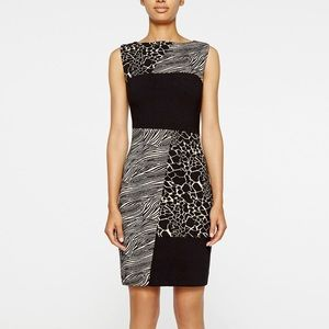 Atelier Nicole Miller zebra leopard shift dress